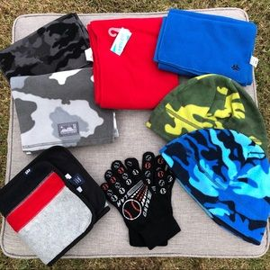 Set of Boy's scarf, beanies, and gloves
